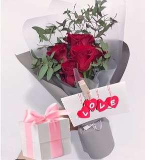 Rose Bouquet - 6 stalks
