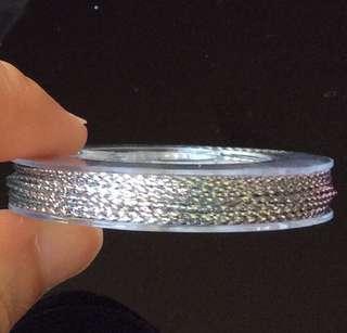 1 roll of 0.6 Silver Metallic Non-Elastic Cord: 10 metre