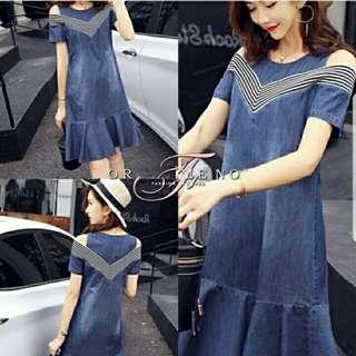 A5140 (H) Dress Denim Stripe  Bahan katun denim kombi salur fit to L