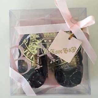 Selling Juicy Couture Baby Girls Gold Purple Plaid Bow Flats Crib Shoes Sz 2 (3/6 M) - No box  Tried but never used -  baby don't want to wear shoes.  #juicycouturebaby