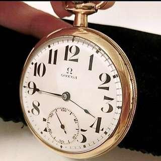 20年代 近佰年古董瑞士亞米加完美白瓷錶面機械上錶懷錶 Rare Vintage Omega Pocket Watch with Porcelain Dial and Gold Filled Case: 100% 原裝瑞士制造亞米加白瓷錶面(完美無瑕)Original Omega Dial (Mint Condition),B&B Royal GF Watchcase for Omega 混金錶殼(49mm diameter) ,screw type bezel and backcover ,運作正常。