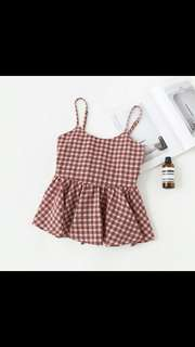 (PO) Checkered Babydoll Top