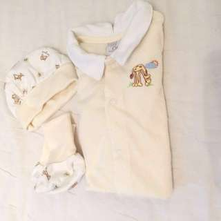 Baby Suit Long sleeves new born Romper onsie Hat And Shoes #huat50sale