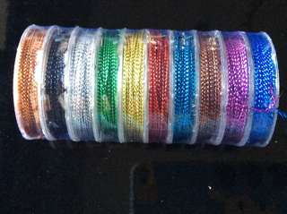 Strings - 10 rolls of 1mm Mixed Colours Metallic Non-Elastic Cord - 10m each