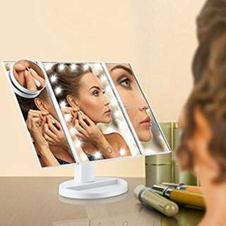 Led Lighted Makeup Mirror, Magicfly 10X 3X 2X 1X Magnifying Mirror 21 LED Tri-Fold Vanity Mirror with Touch Screen and 180° Adjustable Stand, Brightness Travel Beauty Mirror (White)