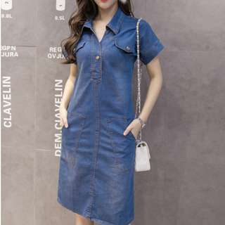 Spring Shirt Collar Short Sleeve Denim Dress - ON/DZC122118/HYC122909