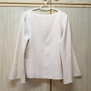 Flared Sleeves White Top