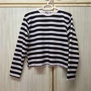 ZARA Black & White Stripes Top