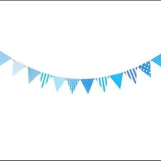 Blue triangle Bunting garland