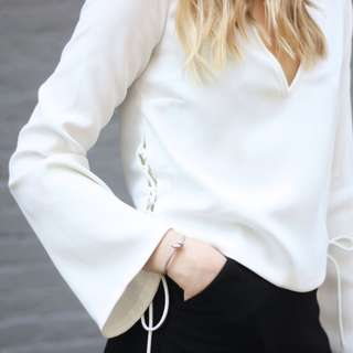 ZARA Criss Cross Side White Top Flared Sleeves