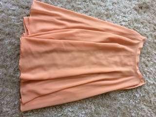 Sheer Peach Midi Skirt