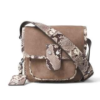 New Michael Kors Women's Hewitt Crossbody Sling Leather Bag (Dark Dune Brown)
