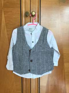 Smart shirt and waistcoat set by Next for 12-18 month boy