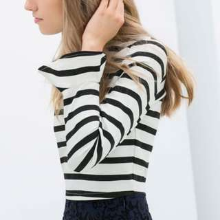 ZARA Black and White Stripes Top with Trumpet Sleeve