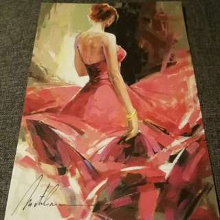 "Painting on Postcard: Artist Anatoly Metlan ""Coral Turn"" Oil Painting on Canvas"