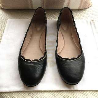 Chloe lamb leather scallop edge flat/ballerina shoes *Made in Italy @Size 37