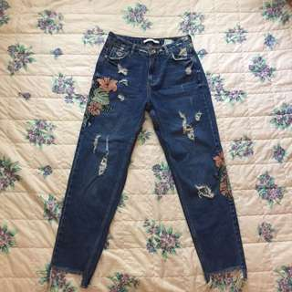 Zara embroided ripped mom jeans