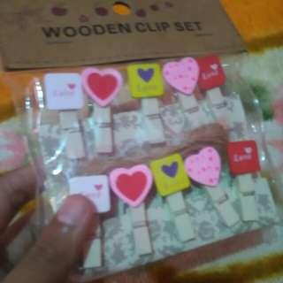 Wooden clip set love letter