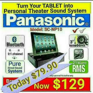 "Sound Theatre System with BLUETOOH for Tablet/Mobile phones. (with Built-in 3"" SubWoofeR & Surround Spkrs) by PANASONIC. (Model: Sc-np10) Usual Price: $249 Today Offer:$ 79.90 ( Brand New In Box & Sealed)"