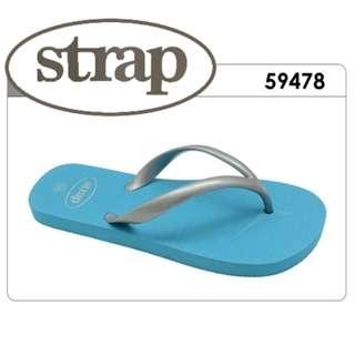 Strap - Summer Thongs / Slipper (Silver Strap) - Blue, Fuchsia or Turquoise
