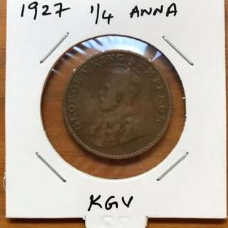 1927  Quarter Anna . British india coin