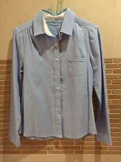 Kemeja Kantor Denim Jeans Lengan Panjang