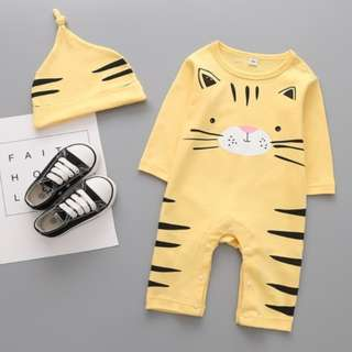 93588B Cartoon Cat with Hat Baby Jumpsuit