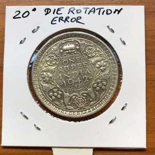 1942 one rupee 20 degree for rotational error