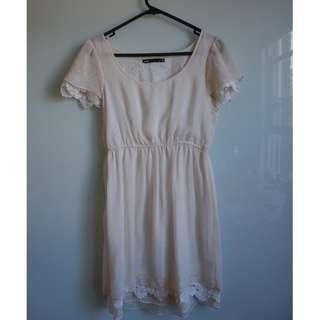 Dotti White/ cream sheer lace layered dress. AU 8-10
