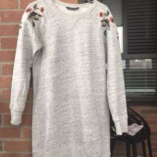 Grey sweat shirt dress/shirt with roses. Size - medium