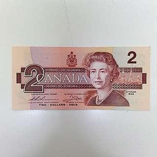 【藏閣】加拿大1986年2-DOLLARS