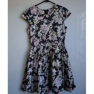 black and pastel floral fit and flare mini skater dress AU 8-10