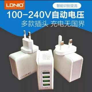 (4個/4pieces) LDNIO4口USB接口4.4A美規英標歐規澳規多功能手機平板電腦充電器 (默認香港三腳插頭) (唯多推廣系列) (家居健康系列) (包Buyup自取站取貨) (USB charger)