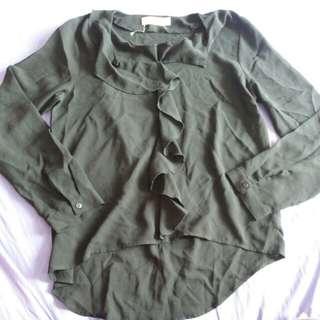 Fishtail Black ruffle blouse