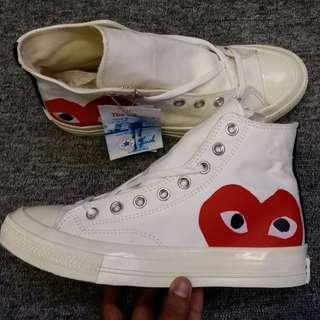 converse cdg high cream/ sepatu converse / converse cdg/ converse sneakers/ converse / sepatu pria / sepatu santai / sepatu casual/ fashion pria