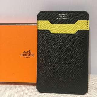 全新愛馬仕卡片套 卡套 卡袋 card holder wallet new black Yellow 黑加黃色