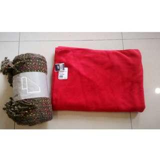 ikea羊毛毯 羽毛牌LACHELN高級雙刷保暖氈   毛毯/蓋毯/毯子午睡毯冷氣毯 加厚空調毯旅行多用途