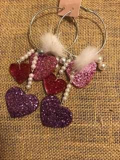 Sweet fancy earrings (hearts and fur)