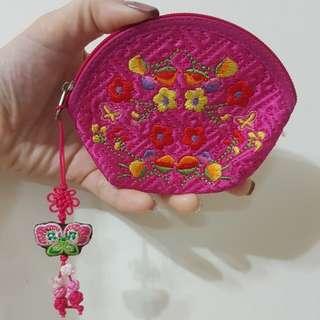 🚚 中國風桃紅色零錢包