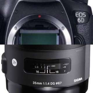 Canon Eos 6d with sigma 35mm lens