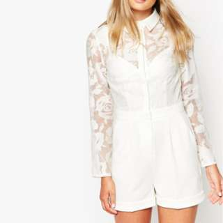 ASOS White button up sheer panel floral playsuit AU 10-12