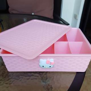New Set of 2 Hello Kitty Pink Plastic Storage Box