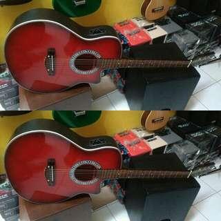 Gitar Akustik Elektrik Merah
