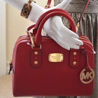 Michael Kors Saffiano Leather Small Red Satchel / Crossbody