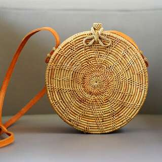 Round Rattan Bag in Flower Pattern with Ribbon Lock
