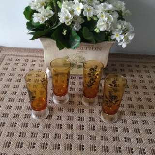 Vintage Aderia Embar Footed Glass set of 4