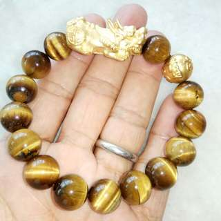 12mm Yellow Tigereye Crystal Bracelet with A Heavy Gold Plated Pixiu and a Om Mani Padme Hum Round Gold Bead