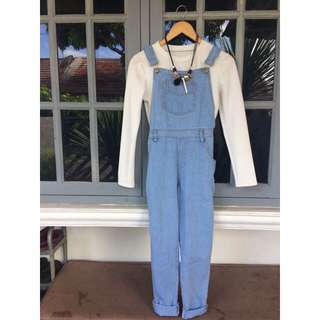 Overall jeans + longhand white