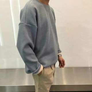 Tip內刷毛casual風格落肩版針織上衣(淺灰色)