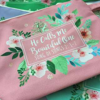Personalised canvas pouch - flower 03